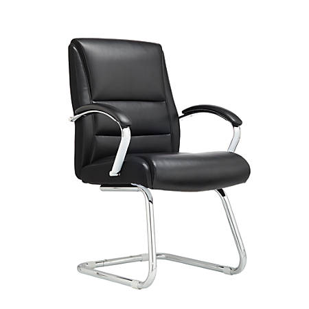Realspace® Modern Comfort Series Morgan Bonded Leather Guest Chair, Black/Silver