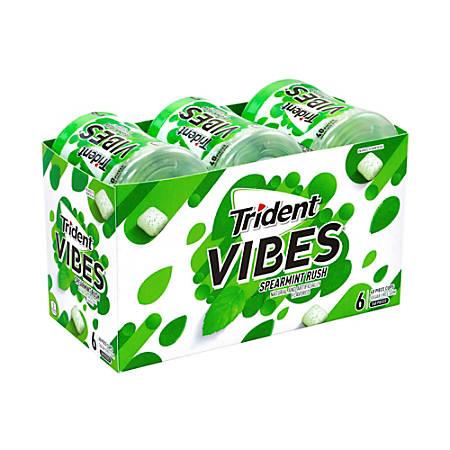 Trident® Vibes Spearmint Sugar-Free Gum, 40 Pieces Per Pack, Carton Of 6 Packs