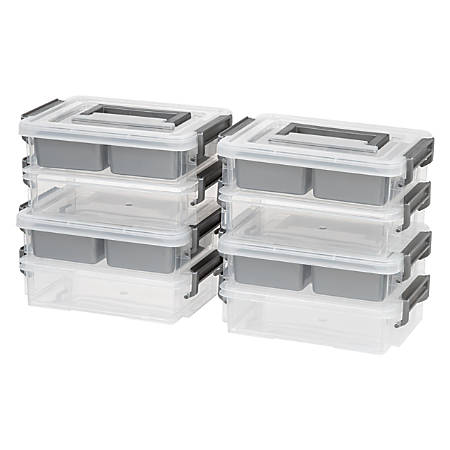 """IRIS 2-Cup Layered Latch Boxes, 10-7/8"""" x 7-3/4"""" x 5-3/8"""", Clear, Pack Of 4 Boxes"""