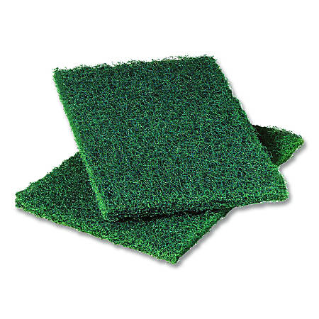 """3M Scotch-Brite™ Resin Commercial Heavy-Duty Scouring Pads, 6"""" x 9"""", Green, 12 Pads Per Pack, Case Of 3 Packs"""