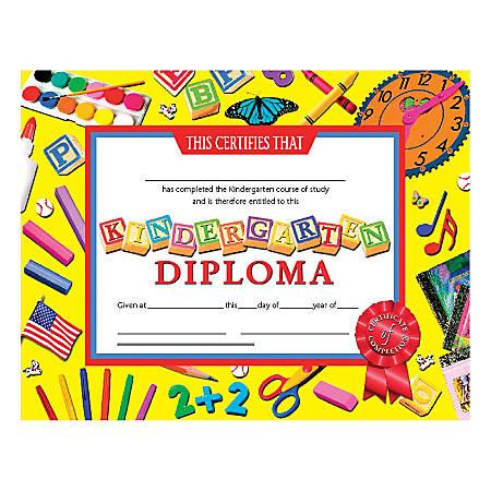 "Hayes Kindergarten Diplomas, 8 1/2"" x 11"", Multicolor, 30 Certificates Per Pack, Bundle Of 6 Packs"
