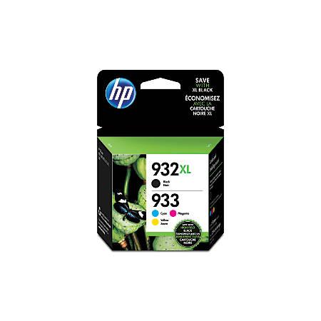 HP 933 Black/Cyan/Magenta/Yellow Ink Cartridges (N9H62FN#140), Pack Of 4