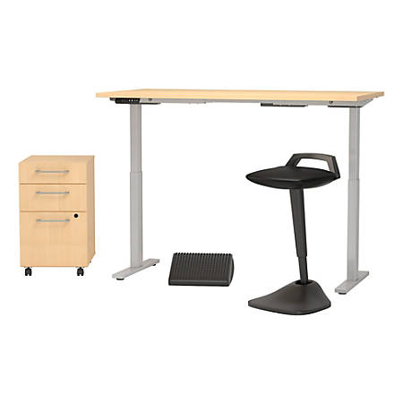 """Bush Business Furniture Move 60 Series 60""""W x 30""""D Adjustable Standing Desk with Lean Stool Storage and Ergonomic Accessories, Natural Maple, Standard Delivery"""
