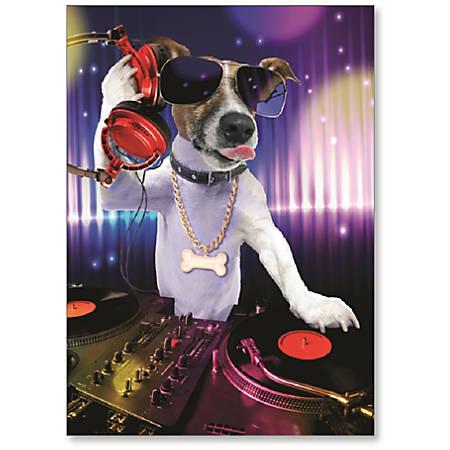 "Viabella Fun Birthday Greeting Card With Envelope, DJ Dog, 5"" x 7"""
