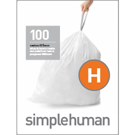 simplehuman Custom-Fit 0.03-mil Trash Can Liners, Code H, 8 - 9 Gallons, White, Pack Of 100 Liners