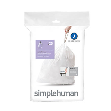 simplehuman® Custom Fit Can Liners, J, 30-40L/8-10G, White, Pack Of 240