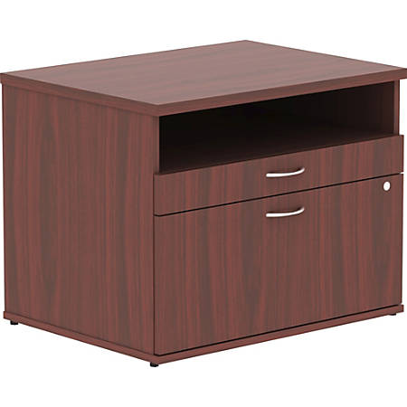 Lorell® Relevance Series Open Credenza File Cabinet, Mahogany