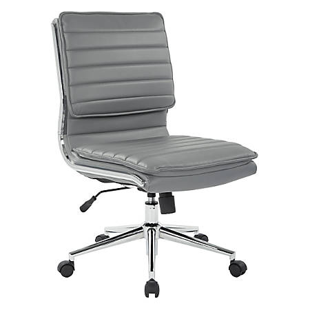 Pro-Line II™ SPX Armless Bonded Leather Mid-Back Chair, Charcoal/Chrome