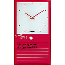 Lorell Magnetic Glass Memo Wall Clock
