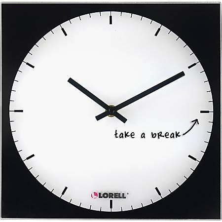 Lorell® Square Magnetic Glass Memo Wall Clock, Black