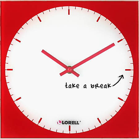 Lorell® Square Magnetic Glass Memo Wall Clock, Red