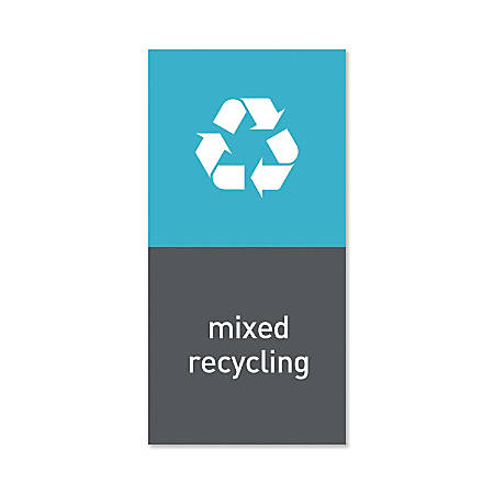 "simplehuman Magnetic Trash Label, Mixed Recycling, 4"" x 8"", Gray"