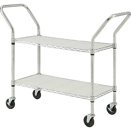 Lorell® Mobile Double Handle Wire File Cart, Chrome