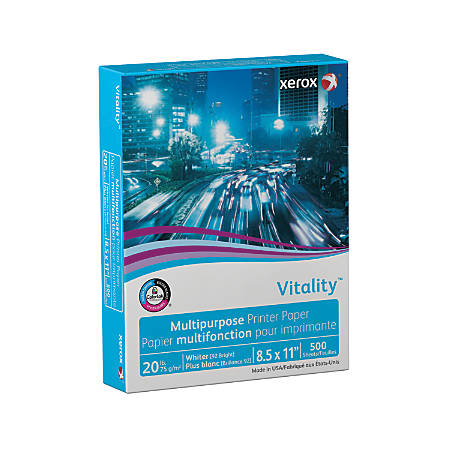 Xerox® Vitality™ Multipurpose Printer Paper, Letter Size Paper, 92 Brightness, 20 Lb, FSC® Certified, Ream Of 500 Sheets