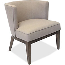 Lorell Linen Fabric Accent Chair BeigeWalnut