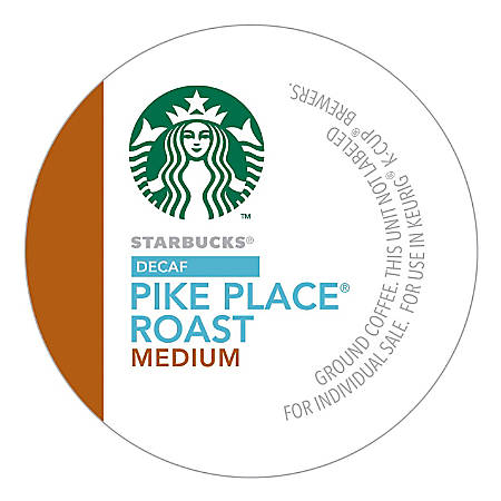 Starbucks® Pike Place Decaffeinated Coffee Single-Serve K-Cup®, 0.1 Oz, Carton Of 24