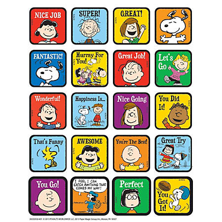 "Peanuts® Motivational Theme Stickers, 1"", Multicolor, Pack Of 120 Stickers"