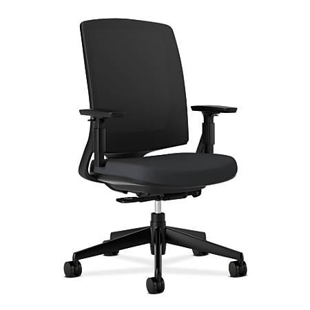 """HON® Lota Series Mesh Mid-Back Chair, 43""""H x 30""""W x 35 1/2""""D, Black"""