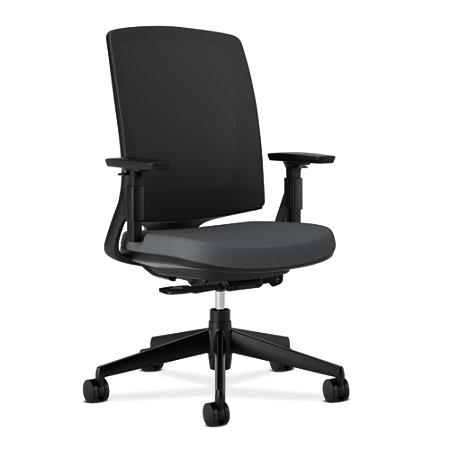 """HON® Lota Series Mesh Mid-Back Chair, 43""""H x 30""""W x 35 1/2""""D, Charcoal"""