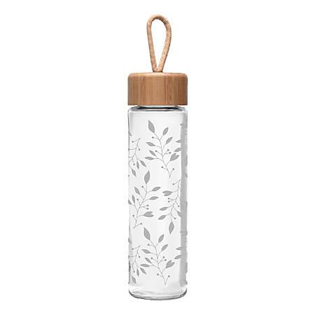 Ello Thrive Glass Water Bottle, 20 Oz, Etch Sprig