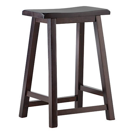 Linon Home Décor Products Williams Saddle Stool, Dark Brown