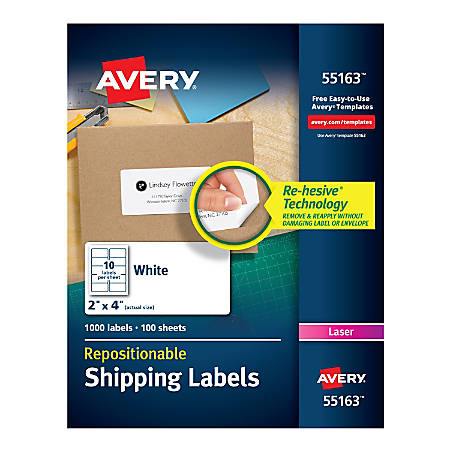 """Avery® Repositionable Permanent Shipping Labels, 55163, 2"""" x 4"""", White, Box Of 1,000"""