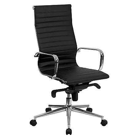 Flash Furniture Ribbed Upholstered Leather High-Back Swivel Chair, Black/Silver
