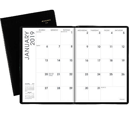 """AT-A-GLANCE® 13-Month Monthly Planner, 7"""" x 10"""", Black, January 2019 To January 2020"""