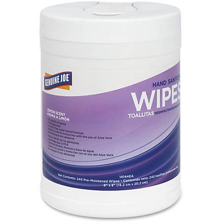 Genuine Joe Antibacterial Hand Sanitizing Wipes, Lemon Scent, Pack Of 240