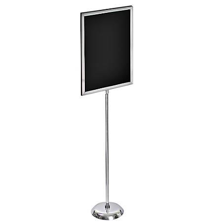 "Azar Displays 2-Sided Slide-In Frame Sign Holder With Metal Pedestal Stand, 24"" x 18"", Silver"