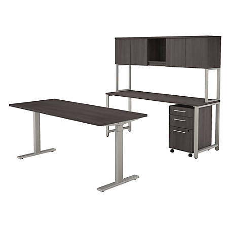 """Bush Business Furniture 400 Series 72""""W x 30""""D Height Adjustable Standing Desk with Credenza, Hutch and Storage, Storm Gray, Premium Installation"""