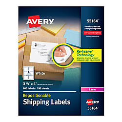 Avery Repositionable Permanent Shipping Labels 55164