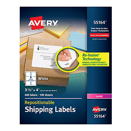 "Avery® Repositionable Permanent Shipping Labels, 55164, 3 1/3"" x 4"", White, Box Of 600"