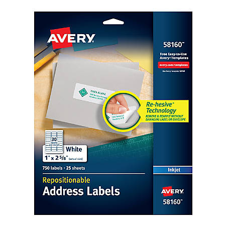 "Avery® Inkjet Repositionable Address Labels, 58160, 1"" x 2 5/8"", White, Pack Of 750"