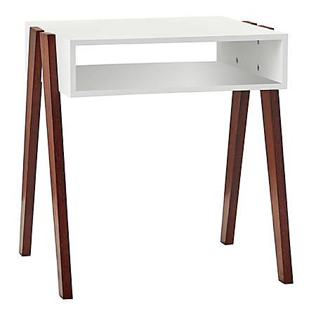 "Adesso® Laurel End Table, Rectangle, 21-3/4""H x 20-1/2""W x 17-3/4""D, White/Walnut Oak"
