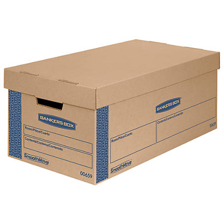 """Bankers Box® SmoothMove™ Prime Lift-Off Lid Moving Boxes, Small, 24"""" x 12"""" x 10"""", 85% Recycled, Kraft/Blue, Pack Of 8"""