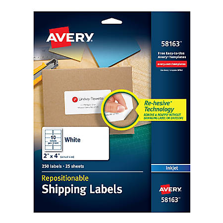 """Avery® Repositionable Inkjet Shipping Labels, 58163, 2"""" x 4"""", White, Pack Of 250"""