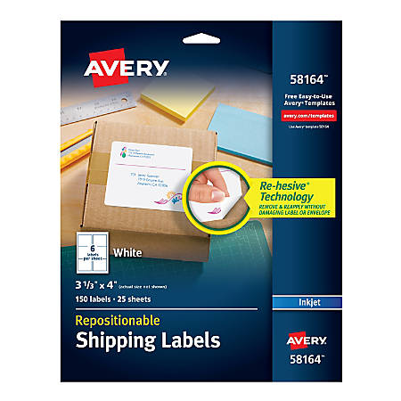 "Avery® Repositionable Inkjet Shipping Labels, 58164, 3 1/3"" x 4"", White, Pack Of 150, 58164, 3 1/3"" x 4"", White, Pack Of 150"
