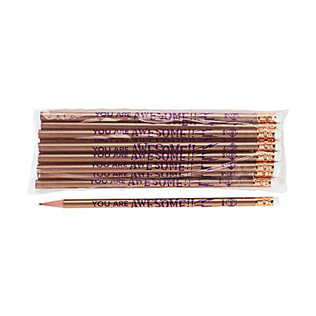 Moon Products Decorated Wood Pencils, #2, HB Hardness, Gold, You Are Awesome, Pack Of 12 Pencils