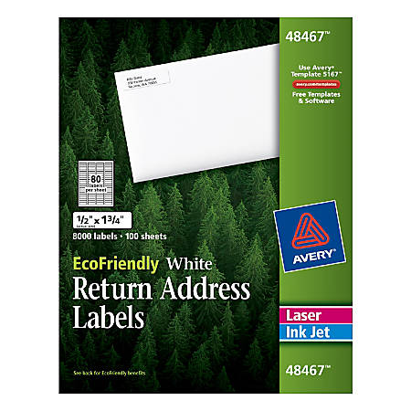 "Avery® Easy Peel® EcoFriendly Permanent Inkjet/Laser Return Address Labels, 48467, 1/2"" x 1 3/4"", 100% Recycled, White, Pack Of 8,000"