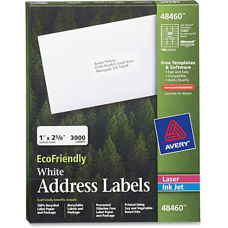 "Avery® Easy Peel® EcoFriendly Permanent Inkjet/Laser Address Labels, 48460, 1"" x 2 5/8"", 100% Recycled, White, Pack Of 3,000"