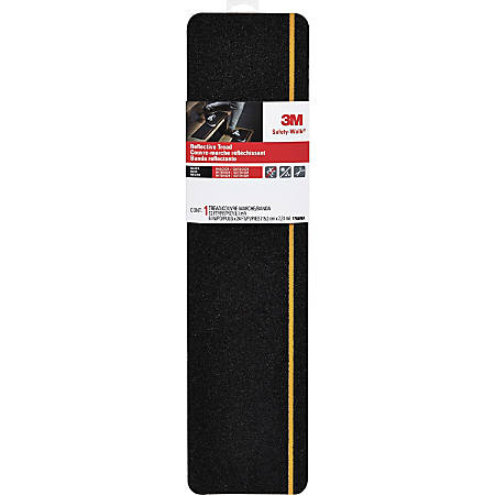 "3M Safety Walk Reflective Tread - 6"" Width x 2 ft Length - Self-adhesive, Anti-slip, Reflective - 1 EachRoll - Black"