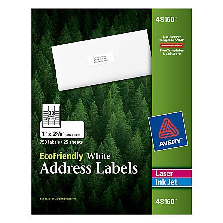 Avery Easy Peel Ecofriendly Permanent Inkjetlaser Address Labels