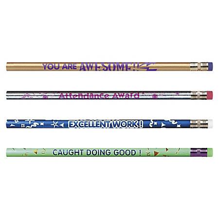 Moon Products Motivational Pencils, #2 HB Lead, Assorted Barrel Colors, Pack Of 144 Pencils