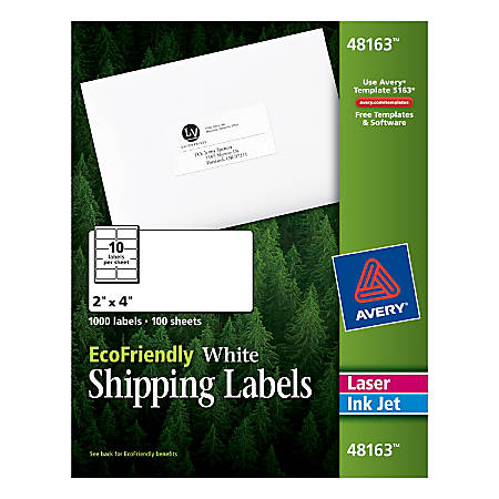 """Avery® EcoFriendly Permanent Shipping Labels, 48163, 2"""" x 4"""", 100% Recycled, White, Box Of 1,000"""