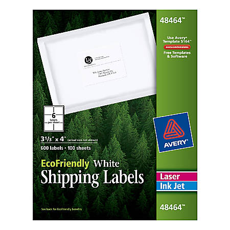 """Avery® EcoFriendly Permanent Shipping Labels, 48464, 3 1/3"""" x 4"""", 100% Recycled, White, Box Of 600"""
