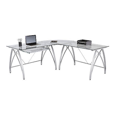 super popular 7318f 705c2 Realspace® Vista Glass L-Shaped Desk, Silver Item # 9801471