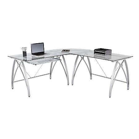 realspace vista l shape computer desk silver office depot. Black Bedroom Furniture Sets. Home Design Ideas