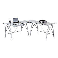 Realspace Vista Glass L Shaped Desk