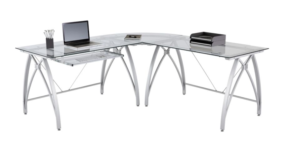 ... L Shaped Desk, Silver. Use + And   Keys To Zoom In And Out, Arrow Keys  Move The Zoomed Portion Of The Image